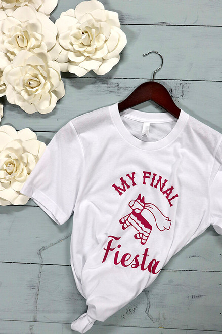 My Final Fiesta - themed bachelorette party tees! The most fun theme there is! Pairs perfectly with a shot of tequila and free chips.  Bella Canvas tees are a soft blend of poly/cotton and have a cute unisex  fit. You and your besties will likely wear this shirt over and over again. This is the Bride tee.