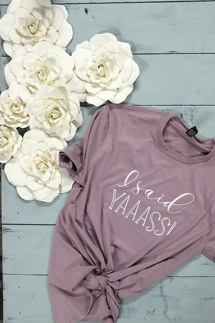 I said YASSS!- engagement gift or wedding dress shopping tee!  Bella Canvas tees are a soft blend of poly/cotton and have a cute unisex  fit. You will likely wear this shirt over and over again because you said YASSS - I'll marry you AAANNND YASSS to the dress!.