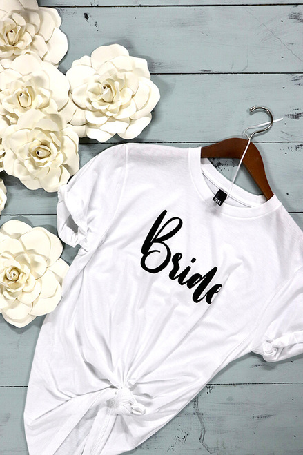 Simple Bride Tee-  engagement gift or wedding dress shopping tee!  Bella Canvas tees are a soft blend of poly/cotton and have a cute unisex  fit. You will likely wear this shirt over and over again because, you are a bride AND it matches everything.
