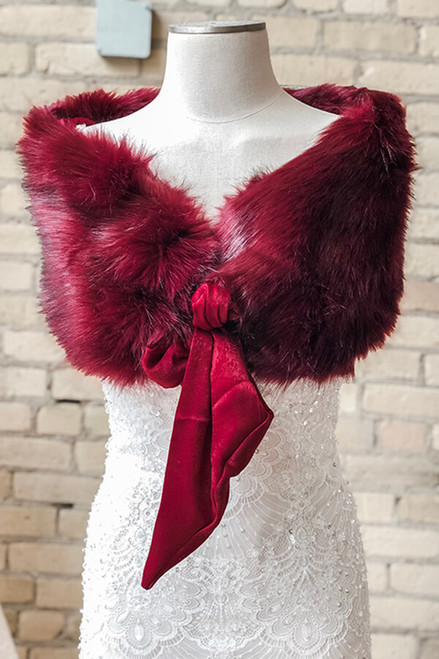 Burgundy Vegan Fur with Bow
