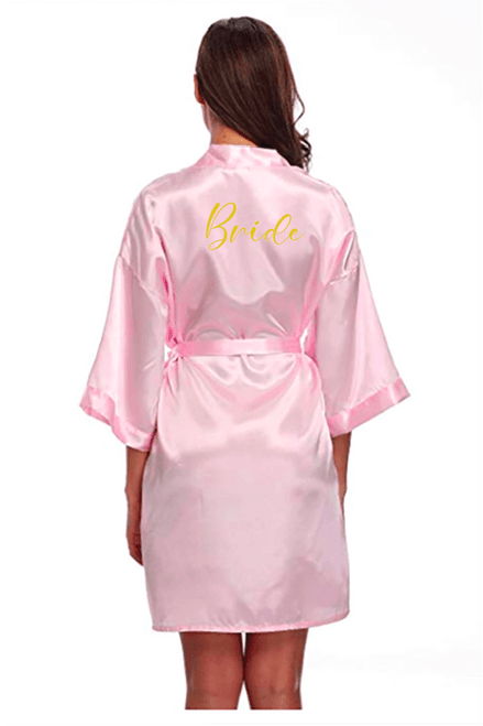 Blush robe with gold lettering