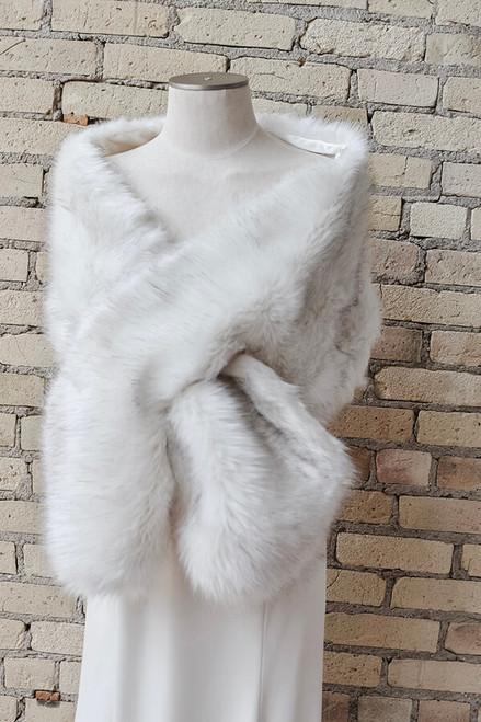 Large Ivory Vegan Fur Wrap