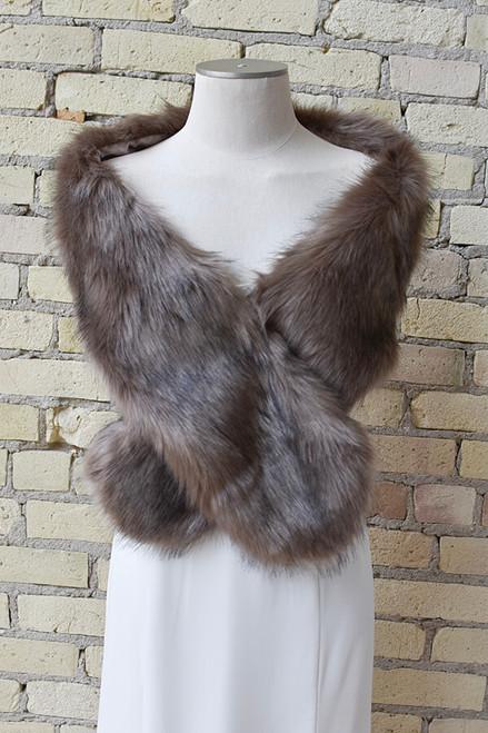 Brown Vegan Fur Wrap
