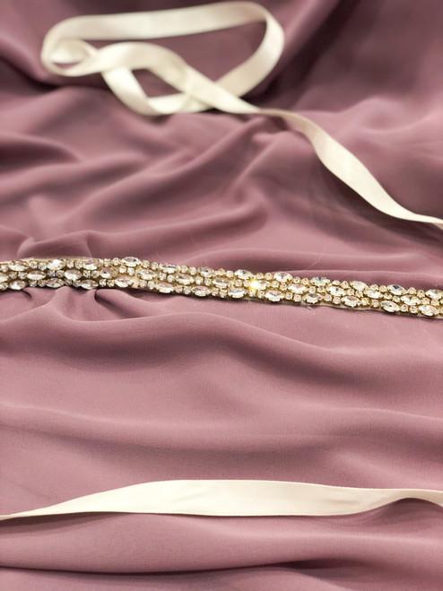 Crystals in Rosegold on Ivory Belt