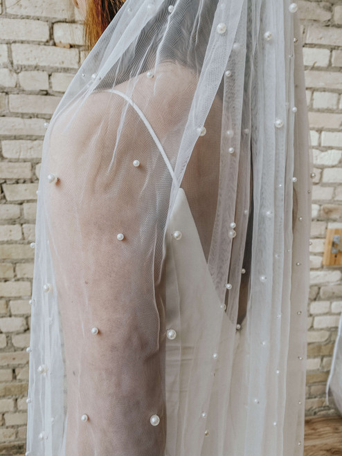 Scattered Pearl Chapel Length Veil