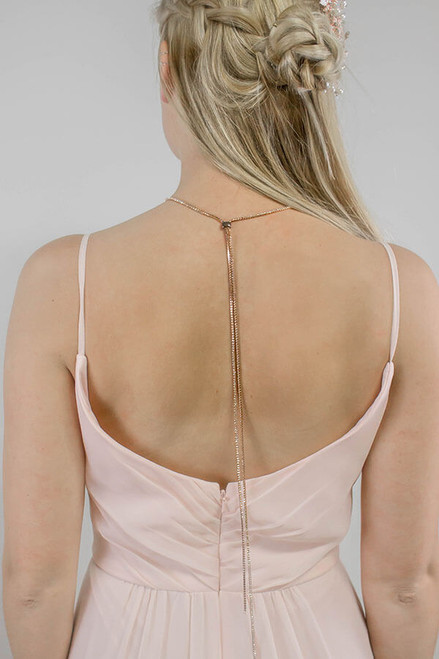 That back though. Subtle sparkles make this back necklace the perfect and unexpected touch.