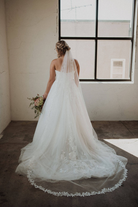 Floral Lace Trim Cathedral Length Veil
