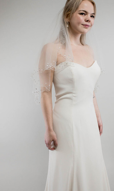 Dramatic Double Layer Veil with Sparkles