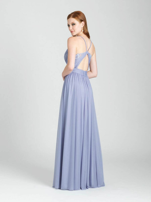 Ruching and a crossover bodice lead to an open back with a touch of lace.