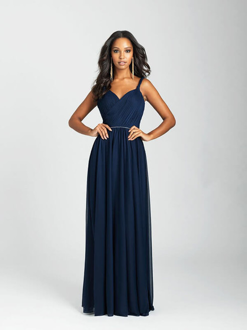 Twisted straps and an open, crossover back add elegance to this gown.