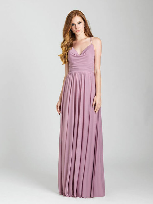 We're in love with the ever-so-slight draping along the neckline of this strappy gown.