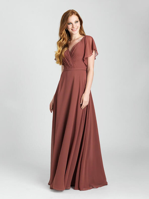Tie-back butterfly sleeves lend whimsy to this chiffon gown.
