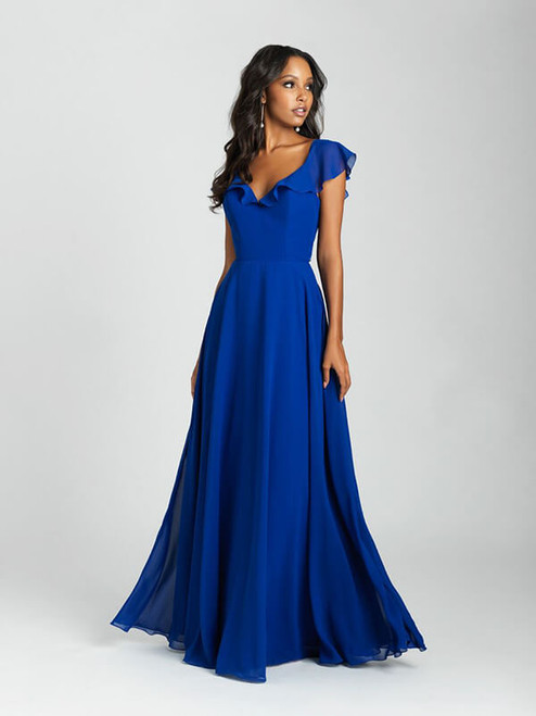 A fluttering chiffon ruffle edges the neckline and cap sleeves of this A-line gown.