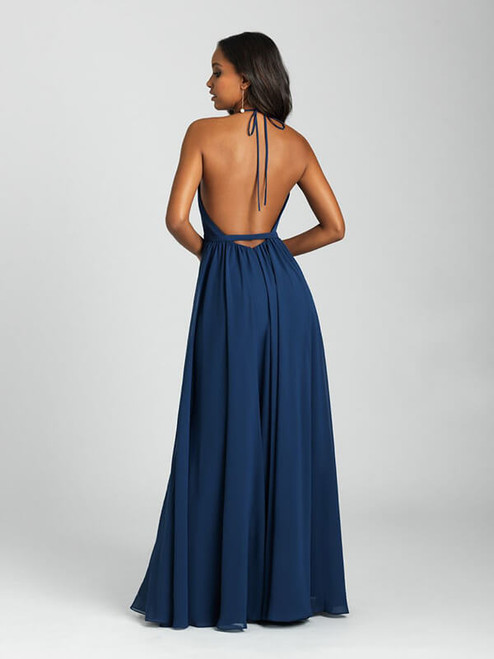 A delicate ruffle cascades down the front of this strappy A-line gown.