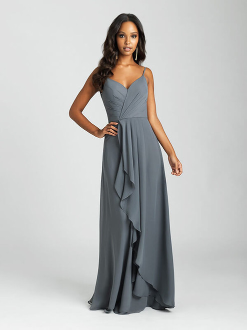 A crossover bodice and asymmetrical skirt create a faux-wrap effect for this A-line gown.