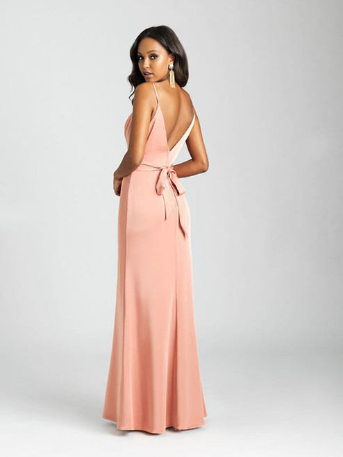 This sheath gown features clean lines and a soft sheen.
