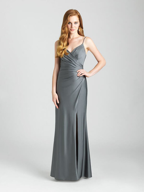 Ruching creates a wrap dress effect along the bodice of this gown.
