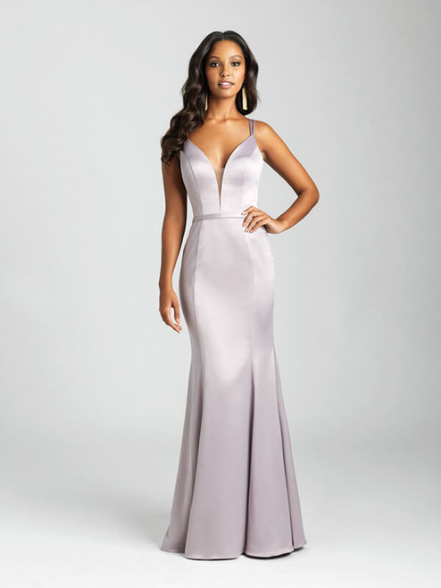 A soft satin creates an elegant finish to this sheath gown.