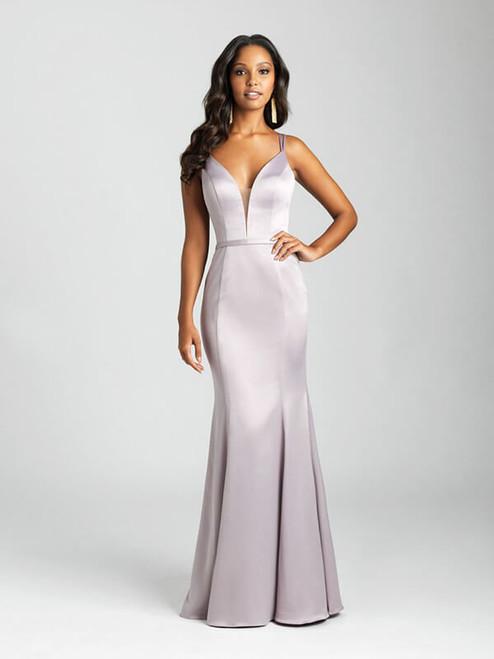 A soft satin creates an elegant finish to this sheath gown.