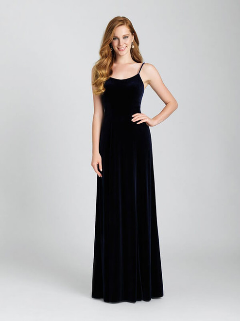 This classic velvet gown is cut for timelessness and simplicity.