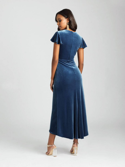 This velvet midi dress features a feminine cap sleeve and faux-wrap effect.