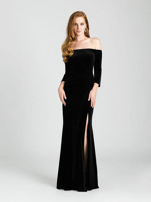 The rich velvet of this long-sleeved gown makes it perfect for a fall or winter wedding.