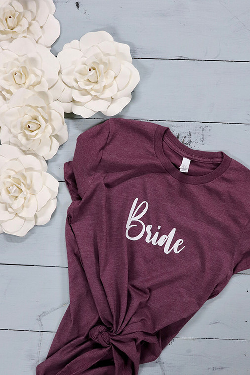 Bride and Bridesbabe's - bachelorette party tees! The most fun shirts you can actually wear - really. Pairs perfectly with any theme and universally adorable.  Bella Canvas tees are a soft blend of poly/cotton and have a cute fit. You and your besties will likely wear this shirt over and over again.  This is the Bride's Babes tee.