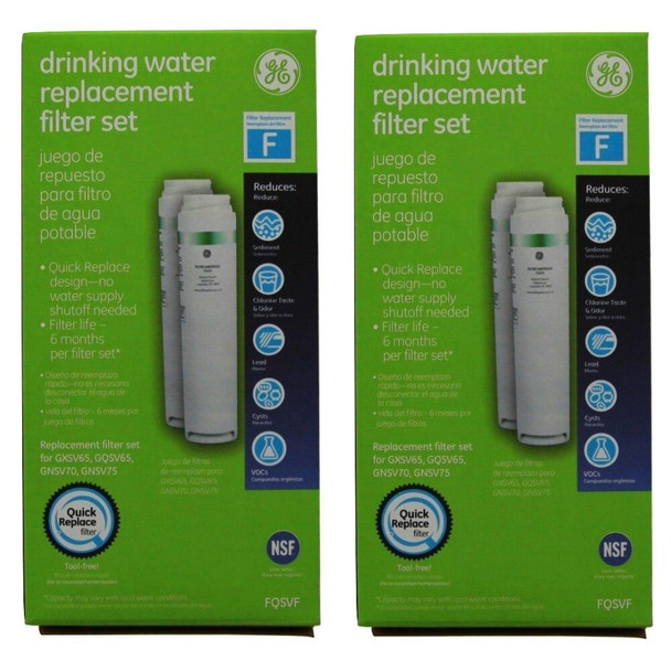 2 Pack GE FQSVF Dual Stage SmartWater Under Sink Drinking Water Filter