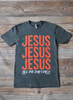 SHORT SLEEVE JESUS - GREY / ORANGE - SALE