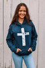NEW! NAVY DISTRESSED CROSS HOODIE