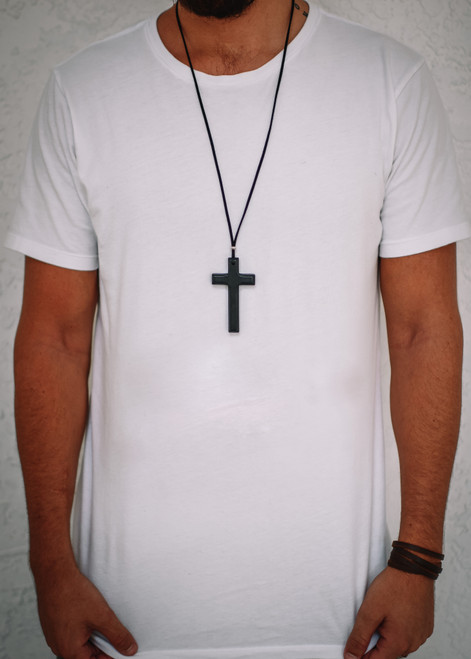NEW! BLACK CROSS NECKLACE