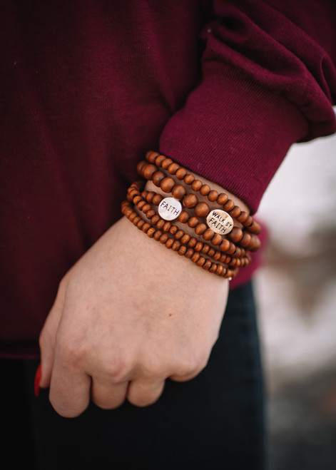 NEW! BROWN BEADED FAITH BRACELET