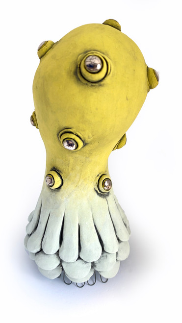 Sara Catapano: Mini Monster (yellow-green with silver eyes)