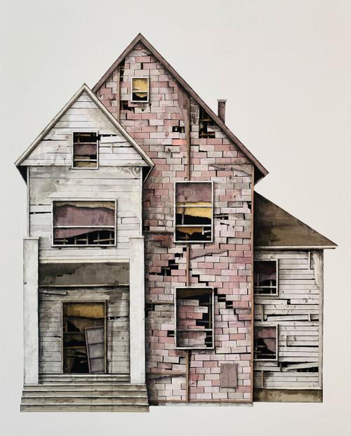 Seth Clark: House Study (purple bricks, white siding)