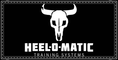 "A black and white banner that says ""Heel-O-Matic Training Systems"" with a cow skull"