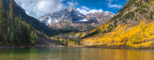 """'Maroon Bells"""" by Cavanah. This is a limited edition, signed and numbered giclŽe print.  A certificate of authenticity will be included with your purchase"""