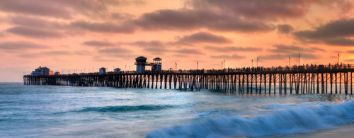 """'Oceanside Pier"""" by Cavanah. This is a limited edition, signed and numbered giclŽe print.  A certificate of authenticity will be included with your purchase"""