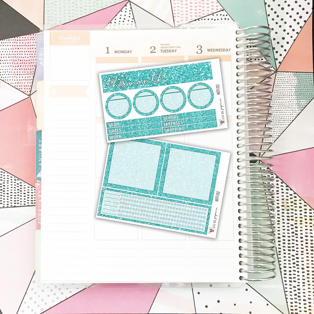 Turquoise Glitter Notes Pages Kit
