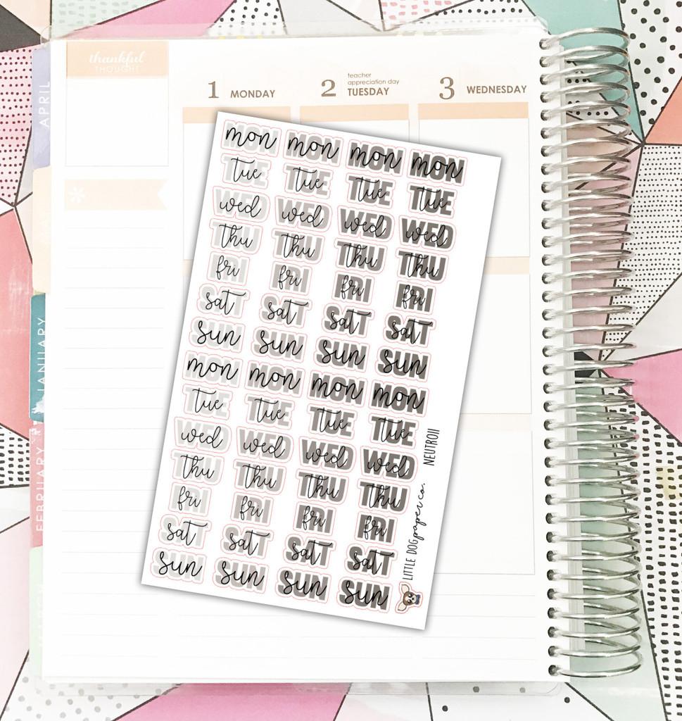 Neutral Weekday Header Stickers