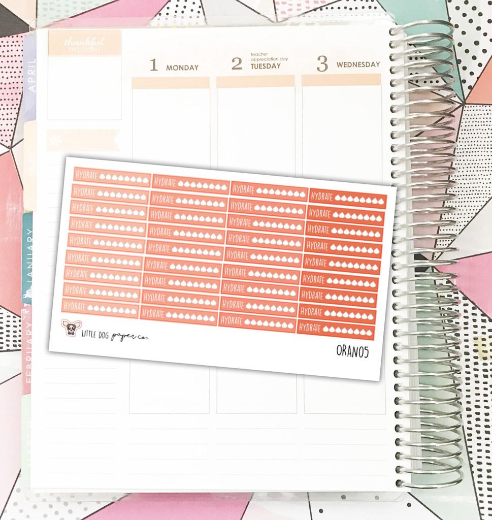 Orange Hydrate Tracker Stickers