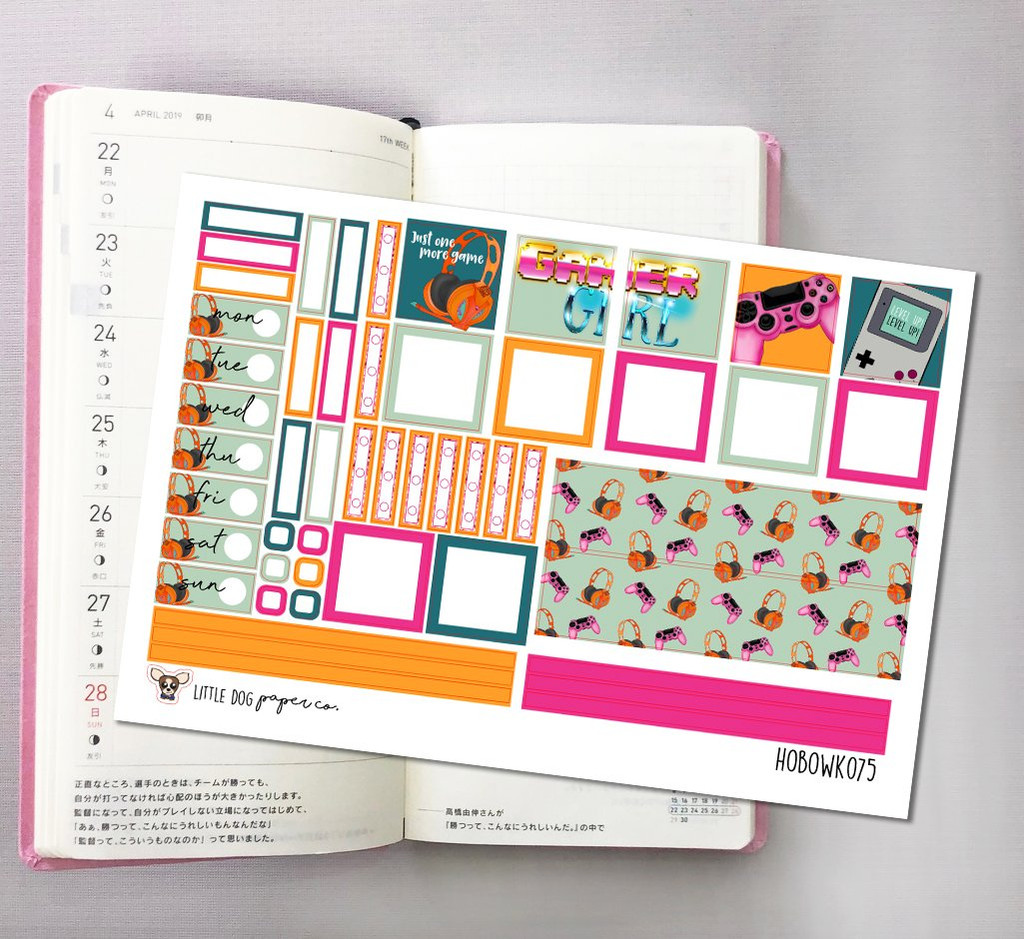 Gamer Girl Hobonichi Sticker Kit