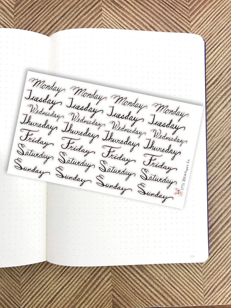 Weekday Header Stickers