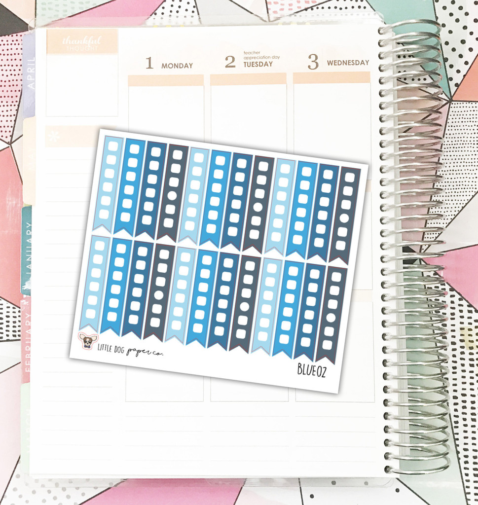 Blue Checklist Flag Stickers
