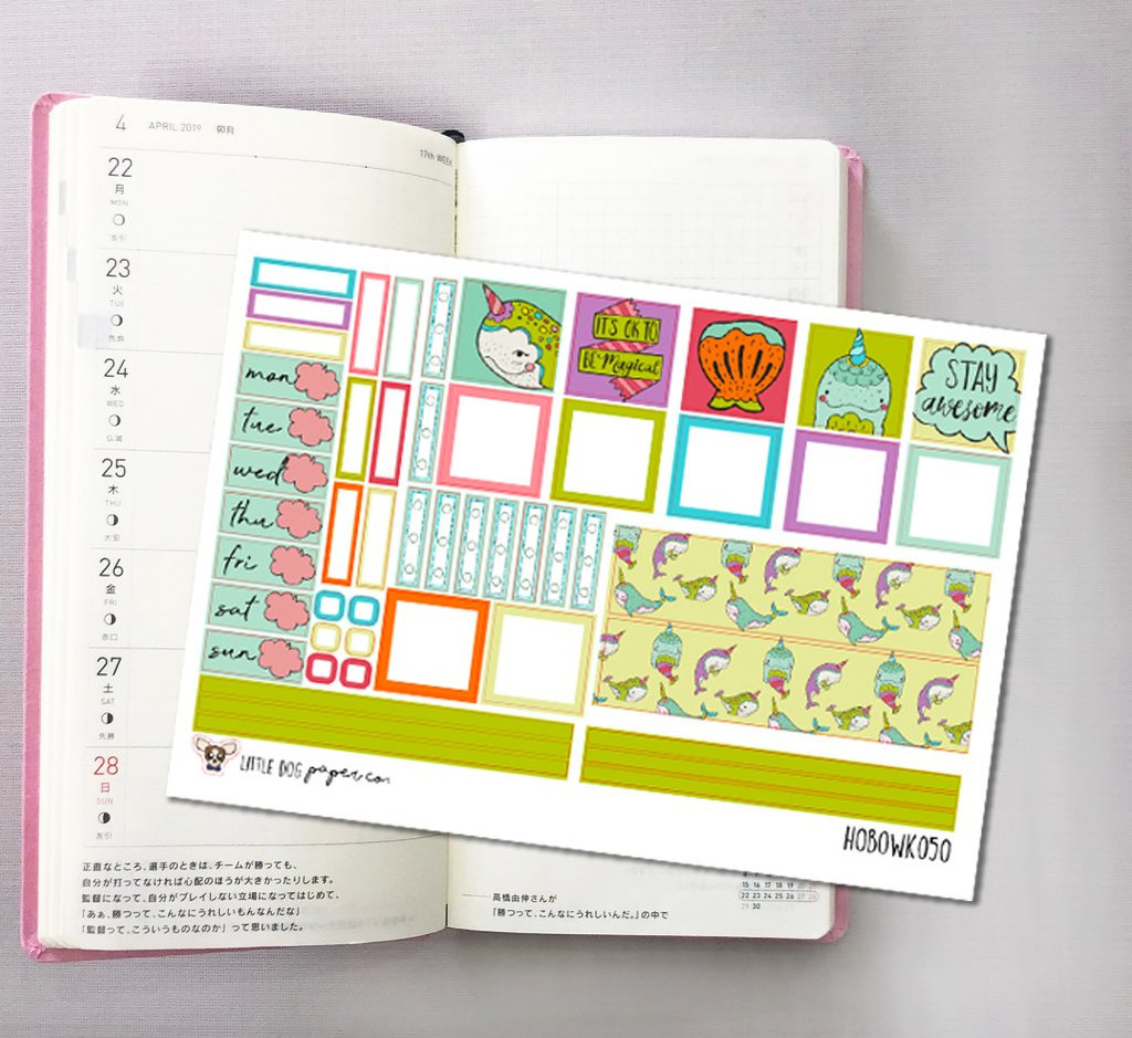 Narwhals Hobonichi Sticker Kit