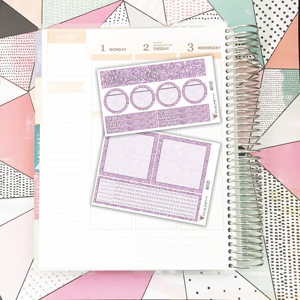 Lavender Glitter Notes Pages Kit
