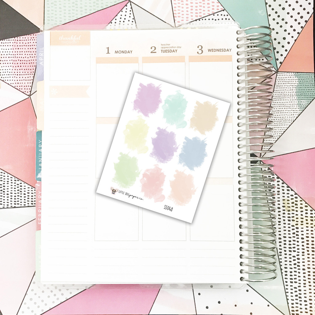 9 Pastel Watercolor Stickers