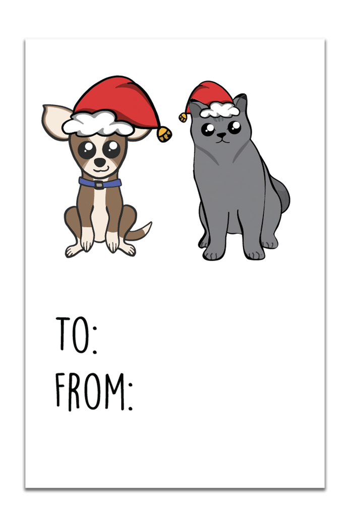 Cat and Dog Christmas Gift Tags