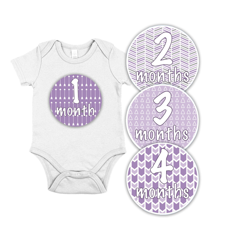 Baby Month Milestone Stickers // Purple Arrows