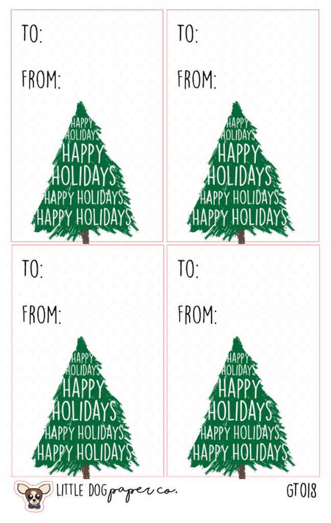 Happy Holidays Christmas Tree Gift Tags