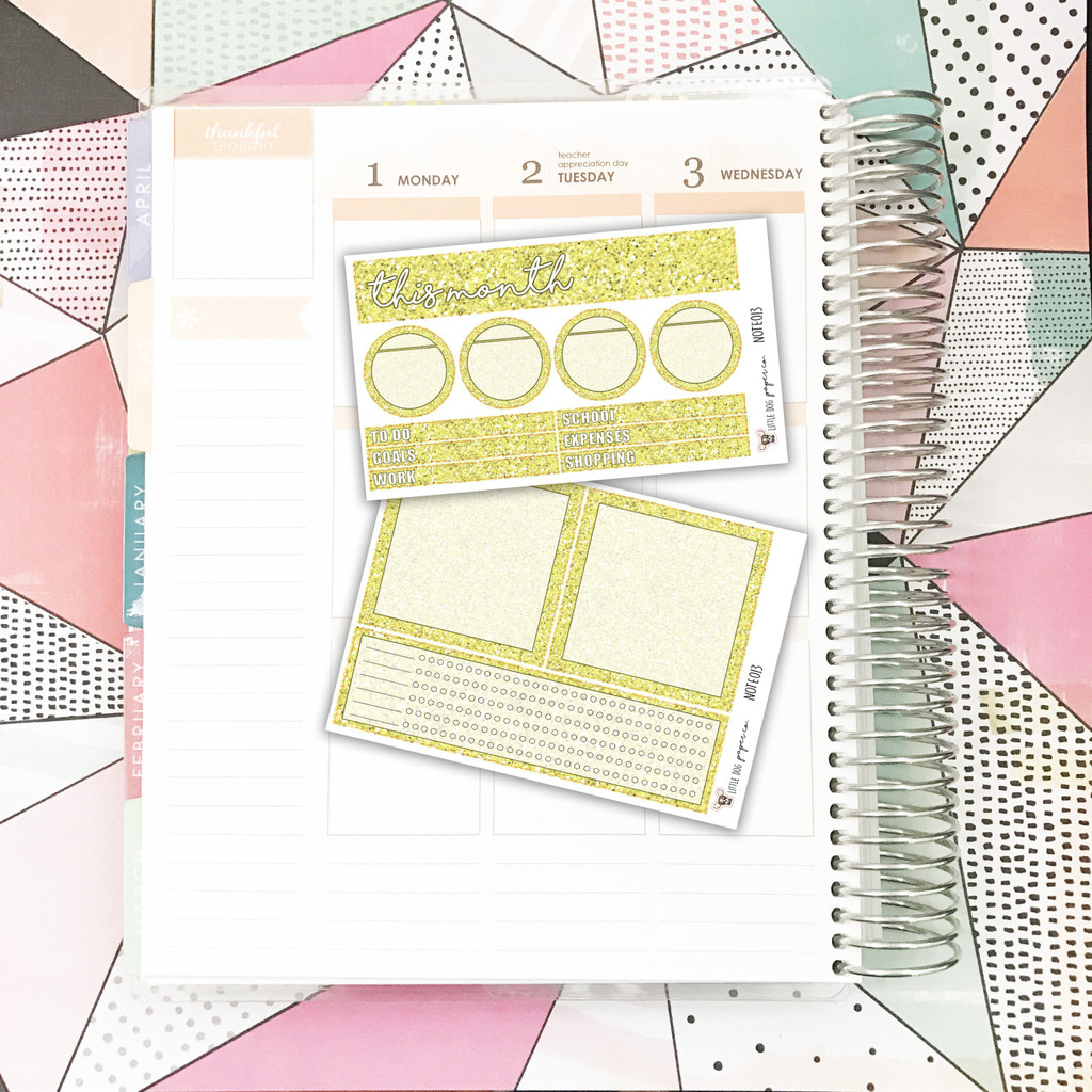 Yellow Glitter Notes Pages Kit